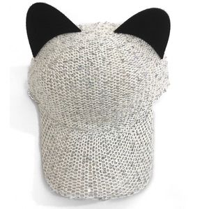 Accessories - White sequin cap with ears